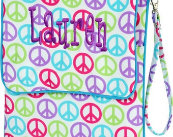 SALE - Personalized Tablet Case in Multi-Colored Peace Sign- Nook, iPad, Kindle