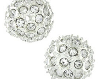 Close Out 10mm bead pave crystal bead, Silver with Crystals (1)