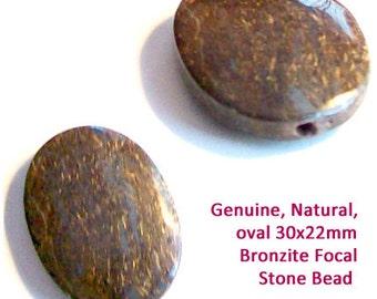 MERZIEs 2 genuine natural brown gold BRONZITE semi precious gem stone oval FOCAL beads
