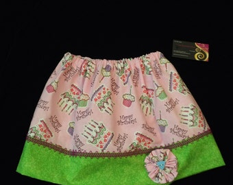 Girls Birthday Skirt size 4T with matching hair clip   Ready to ship. Monogramming optional