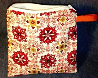 Small Wet Bag - Zipper Sandwich Bag - Reusable - Folk Art
