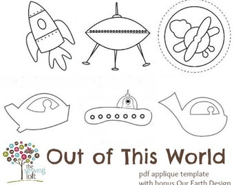 Out Of This World Applique Template Design Pack -PDF File Downloads INSTANTLY
