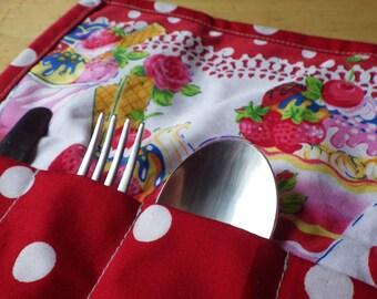 Cutlery case, Napkin Roll, Picnic Cutlery, Cutlery Case, Heart Snap, Knife Fork Spoon Roll