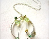 Forest Sprite Constellation Necklace -pale green prehnite necklace, abstract dreamcatcher necklace, one of a kind prehnite ethereal necklace