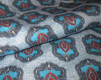 1950s Vintage Cotton Fabric - Classic Fifties Print - Rockabilly - Bright Cyan Blue and Warm Gray