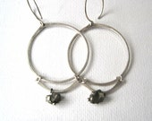 Silver Hoops Links and Pyrite Nuggets Earrings