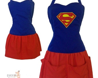 Super Hero Apron - Super Girl in the Kitchen - reversible