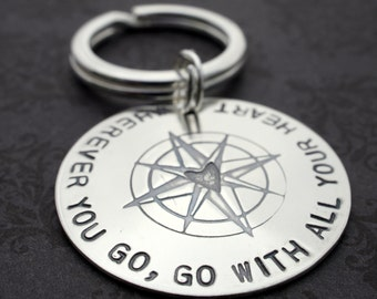 Inspirational Key Chain - Hand Stamped, Engraved Sterling Silver Keychain by Eclectic Wendy Designs