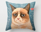 "Grumpy Cat Christmas gift decorative throw pillow cover .... from my original painting, ""Grumpy Cat...Love You""...16"" x 16""... Ready to Ship"