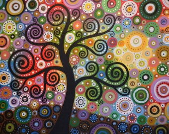 Colorful tree art print ... Tree of Wishes -- Signed 8 x 10 Glossy Print, fun art gift