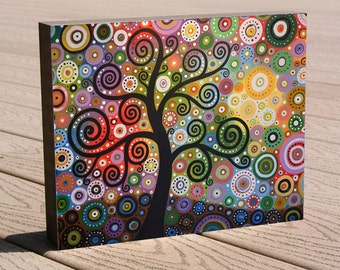 "Tree Art print ...8 x 10 giclee print mounted on cradled birch panel...ready to hang....""Tree of Wishes"", by Amy Giacomelli"
