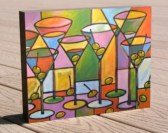 "Martini art print ...8 x 10 print mounted on cradled birch panel...""Martinis and Olives"", Christmas or birthday gift"