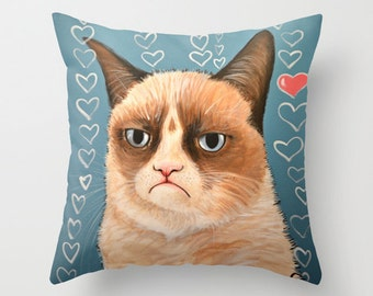 "Grumpy Cat decorative throw pillow cover .... from my original painting, ""Grumpy Cat...Love You""...16"" x 16""... Ready to Ship"