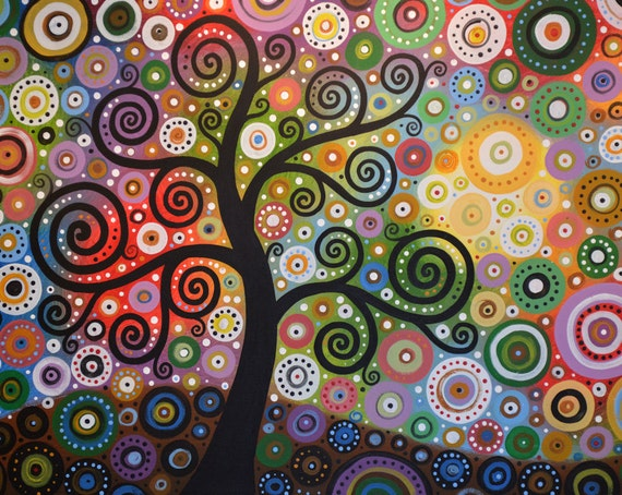 Colorful Tree Art Print Tree Of Wishes Signed 8 X 10