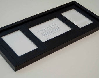 MULTI 3 Opening ALL black collage picture frame with 1) 5x7 & 2) 4x6's ... no distressing....Handmade