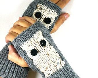 Knit Hand Warmers Cream Owl Gloves Winter Accessories Womens Winter Gloves Knit Grey Gloves Knit Handwarmers Gray Texting Gloves