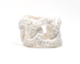 Crochet Ring Faux Chainmail Interlocking Ring White Fiber Band