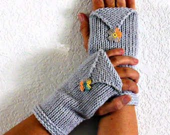 Knit Wrist Warmers Gray Knit Gloves Knit Fingerless Gloves Knit Arm Warmers Fingerless Mittens Knit Hand Warmers Gauntlets Grey