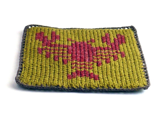 On Sale Marked Down 20% Knit and Crochet Coaster Personalized Cancer Zodiac Mug Rug Olive Green Rust Home Decor