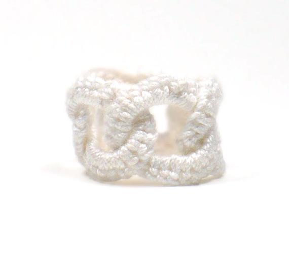 Crochet Ring Faux Chainmail Interlocking Ring White Fiber Band