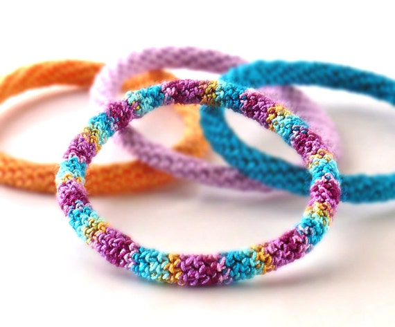 Crochet Bracelet Fiber Bracelet  Shabby Chic Bangle Fine Thread Icord Teal Purple Light Orange Berry