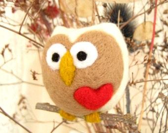 Valentine Needle Felted Owl Ornament - Wool Hoot Love Heart - Valentine