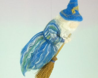 25% off SALE - Flying Wizard Doll Needle Felted Wool Puppet