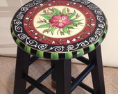 """Painted bar stool // 24"""" or 29"""" hand painted custom round top wooden bar stool // counter stool - chair"""