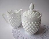 Vintage Fenton Milk Glass Hobnail Cream and Sugar Set - Discounted