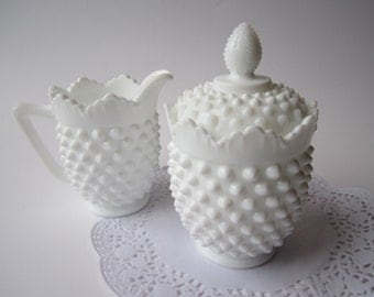 Vintage Fenton Milk Glass Hobnail Cream and Sugar Set - Discounted