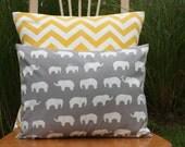 Organic Grey Elephant Pillow Cover - Toddler Pillow - Travel Pillow - nest2impress