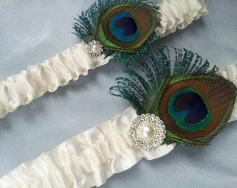 Ivory Peacock Garter Set Pearl Rhinestone Accented Sheer Peacock Feather Bridal Wedding Garter Set