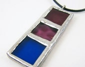 Berry Spectrum - Stained Glass Pendant with Black Cord