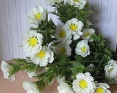 Vintage Plastic White Summer Flowers--Circa 1970