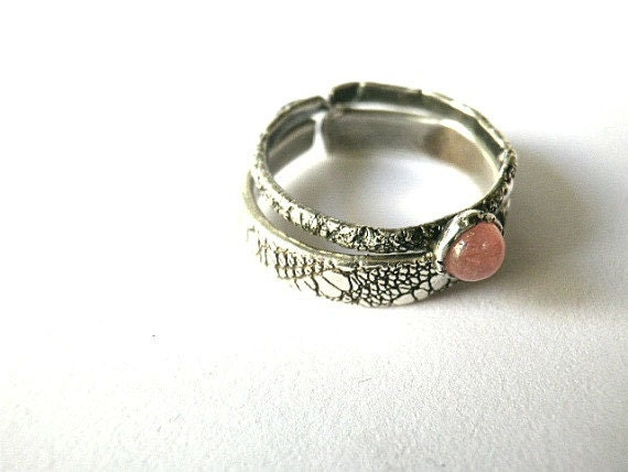 Stacking rings set of two-Sterling silver-Texture rings-3mm stone in a bezel setting--Adjustable