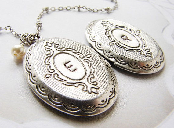 initial locket necklace personalized jewelry two initials. Black Bedroom Furniture Sets. Home Design Ideas