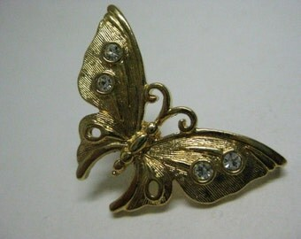 Butterfly Gold Rhinestone Brooch Vintage Pin Tack