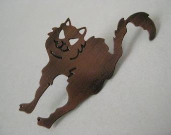 Cat Copper Brooch Vintage Pin Kitten
