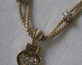 Heart Rhinestone Gold Necklace Vintage Pendant