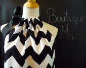 Pillowcase DRESS or TOP - Riley Blake - Black and White Chevron - Made in ANY Size - Boutique Mia