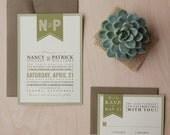 Rustic Wedding Invitation - outdoor wedding invitation, camping wedding invitation, woodland invitation,  retro invitation SAMPLE