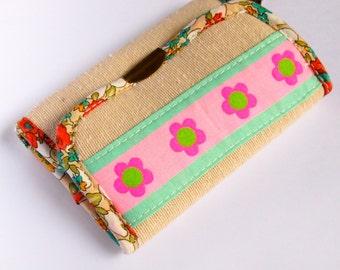 Retro pink flowers - Key pouch key organizers key chain