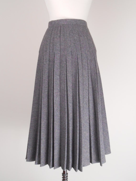 vintage gray plaid pleated wool skirt high waisted skirt