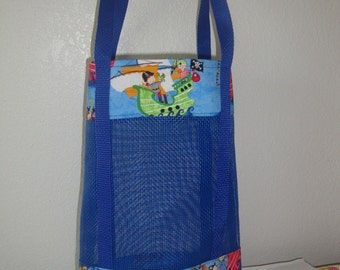Pirate Ships Tote Bag, Mesh Bag, Boys Fun Bag,