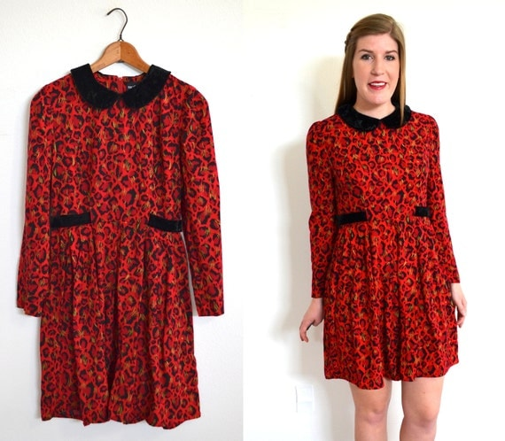 Red Leopard Dress Long Sleeve Dress Animal by TheBraidedBandit