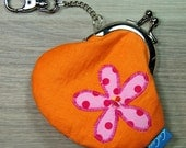 Mini Treasures Purse - Clip Frame - Flower - Dots - Pink - Orange -  Lobster Clasp - Pocket Money - Lunch Money - Tooth Fairy