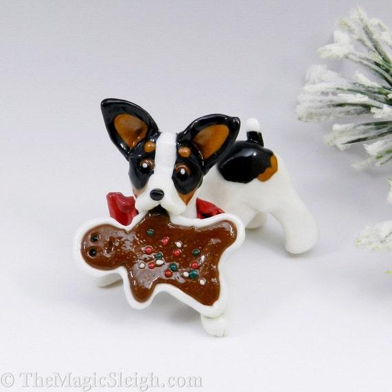 Toy Fox Terrier Rat Terrier Ornament  Christmas Cookies Porcelain