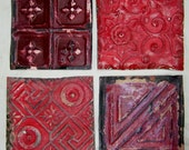 AUTHENTIC Tin Ceiling 6x6 Set of 4 RED Crafts Art Tiles S1211-13