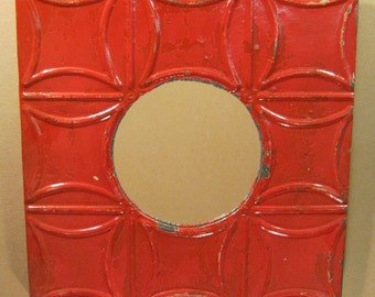 """TIN CEILING Metal Mirror 17""""x17"""" Round RED Shabby Decorative Chic Recycled S 1063-13"""