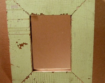 AUTHENTIC Vintage Reclaimed 5x7 Shabby GREEN Chic Wood Framed Mirror S1134-13